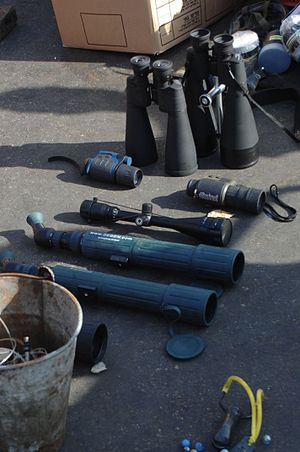 Gaza Freedom Flotilla - Night vision binoculars found on the deck of the Mavi Marmara, along with a scope to be mounted on a sniper rifle.