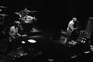 Bon Iver - From left to right: Noyce, Carey, and Vernon performing at The Fillmore in 2009