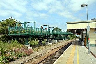Prestatyn railway station - Image: Footbridge ramp, Prestatyn railway station (geograph 4031666)