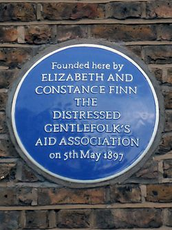 Founded here by elizabeth and constance finn the distressed gentlefolk%27s aid association on 5th may 1897