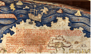 Detail of the Fra Mauro Map relating the travels of a junk into the Atlantic Ocean in 1420. The ship also is illustrated above the text.
