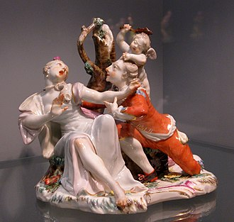Ceramic art - Group with lovers, modelled by Franz Anton Bustelli, Nymphenburg porcelain, 1756