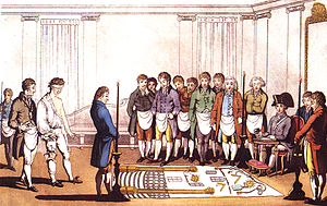 History of Freemasonry - Initiation Paris 1745   Retinted to resemble Moderns Lodge 1805