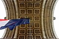 French Tri-Color Flies in Span of Arc d'Triomphe Before 70th Anniversary VE Day Commemoration in Paris (16801375263).jpg