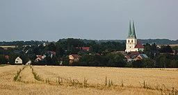 Blick von Westen auf den Ort Göda im Landkreis Bautzen, Sachsen.