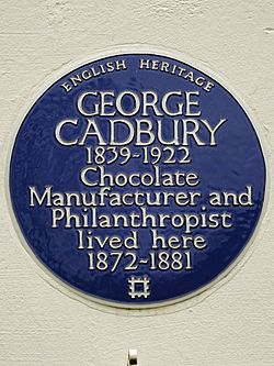 George cadbury 1839 1922 chocolate manufacturer and philanthropist lived here 1872 1881