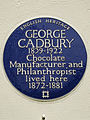 GEORGE CADBURY 1839-1922 Chocolate Manufacturer and Philanthropist lived here 1872-1881.jpg