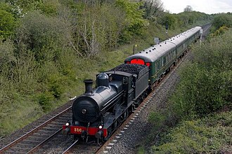 Seagoe railway station - GSWR 186 passing Seagoe GSWR 186 passing near the site of Seagoe Station on a Railway Preservation Society of Ireland service