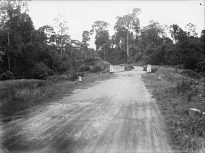 Imperial Guard (Japan) -  In 1942, 700 Imperial Guards died here at Gemencheh Bridge, Malaya during the Battle of Muar (picture taken in 1945).