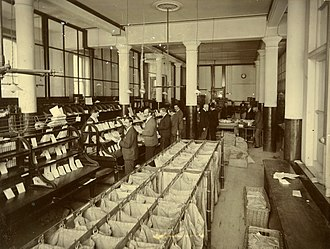 Sorting office - Mail sorting office in Wellington General Post Office, New Zealand c.1900