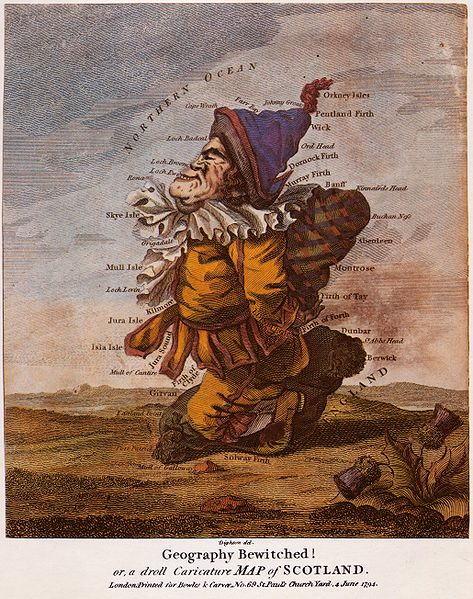 Geography Bewitched or a droll caricature map of Scotland 1794