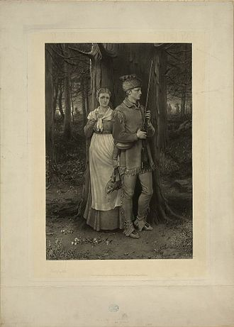 William Henry Simmons - 'Mixed method' engraving after George Henry Boughton - Too Near the War-Path