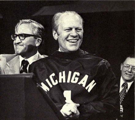 President Gerald Ford was raised in Grand Rapids, Michigan. Gerald Ford at University of Michigan 1976.png