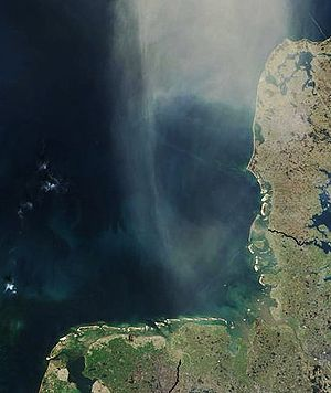 German Bight - Satellite view of the German Bight, Jutland to the right (east).