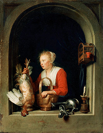 Fijnschilder - Gerard Dou, The Dutch Housewife, 1650