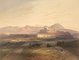 Ghazni - Artwork by James Rattray showing the Citadel of Ghazni and other historical sites, during the First Anglo-Afghan War.