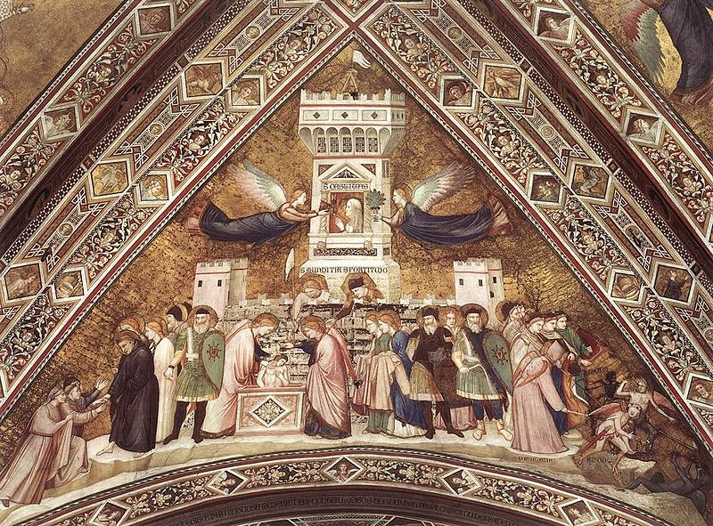 Giotto, Lower Church Assisi, Franciscan Allegories-Chastity 01.jpg