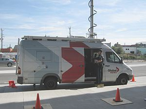 CHAN-DT - Global BC's microwave ENG vans.