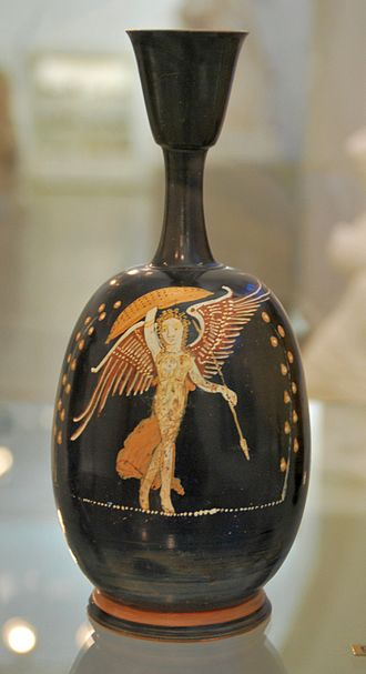 South Italian ancient Greek pottery - A lekythos Gnathia vase depicting an armed and dancing goddess Nike