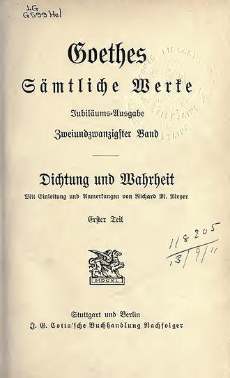 Dichtung und Wahrheit - Dichtung und Wahrheit, 1903-1904
