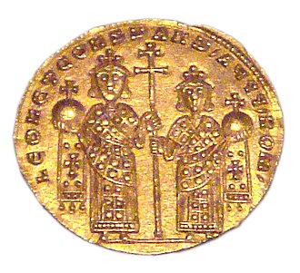 Constantine VII - Gold solidus of Leo VI and Constantine VII Porphyrogennetos, 908–912.