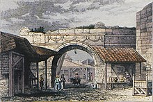 Golden Gate or Axios (Vardar) Gate in Thessaloniki, colour version, Esprit-Marie Cousinéry, 1831.jpg
