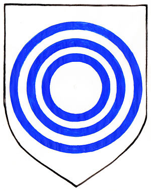 Gorges family - Also used rendering of original armourials of Gorges, with heraldic whirpool or gurges, here shown as 3 concentric blue annulets