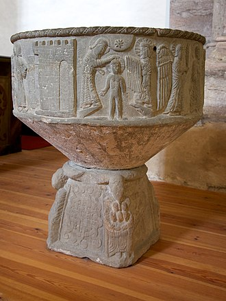 Baptismal font - A Romanesque baptismal font from Grötlingbo Church, Sweden,  carved by Sigraf, a master stone sculptor who specialised in baptismal fonts.