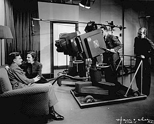 441-line television system - Iconoscope television cameras at NBC in 1937.  Eddie Albert and Grace Brandt reprised their radio show, The Honeymooners-Grace and Eddie Show for television.