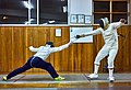 Greek Epee fencers. Evening training at Athenaikos Fencing Club with guests. On the left the Epee fencer Agapitos Papadimitriou.jpg