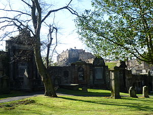 "Seven ill years - Greyfriars Kirkyard, Edinburgh, where the town council erected a ""refugee camp"" to deal with the influx of starving families in 1696"