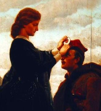 Cockade - A woman fastening a red-and-white cockade to a Polish insurgent's square-shaped rogatywka cap during the January Uprising of 1863–64