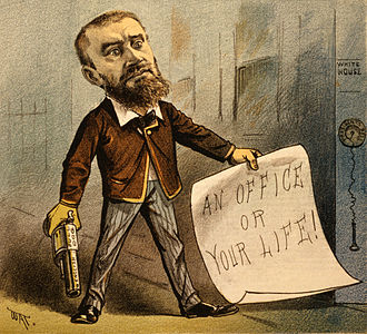 "Charles J. Guiteau - 1881 political cartoon showing Guiteau holding a gun and a note that says ""An office or your life!"" The caption for the cartoon reads ""Model Office Seeker""."