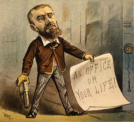 "1881 political cartoon showing Guiteau holding a gun and a note that says ""An office or your life!"" The caption for the cartoon reads ""Model Office Seeker"". Guiteau cartoon2.jpg"