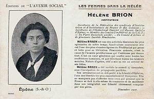 Hélène Brion - Postcard issued by L'Avenir social after Brion's arrest