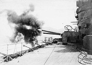 BL 9.2 inch Mk XI naval gun - ''Agamemnon'' fires her 9.2-inch secondary guns at Ottoman Turkish forts at Sedd el Bahr on 4 March 1915