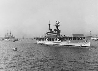 HMS Eagle (1918) - Eagle at Hong Kong in the 1930s. The depot ship HMS Medway is in the background