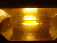 An HPS (High Pressure Sodium) Grow Light Bulb In An Air Cooled Reflector  With Hammer Finish. The Yellowish Light Is The Signature Color Produced By  An HPS.