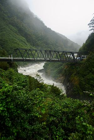 Haast River - Haast River in the mountains