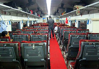 Indian Railways - Interior of an air-conditioned chair-car coach on the Jan Shatabdi Express