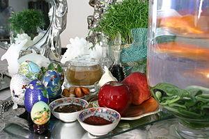 Haftsin table of Nowruz, Iranian tradition of ...
