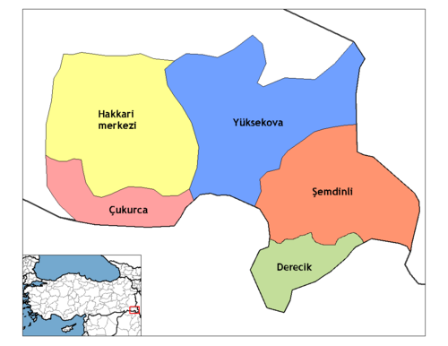 The districts of the modern Hakkari province, where most of the ancient Assyrian settlements were located at (besides Barwari). Hakkari districts.png