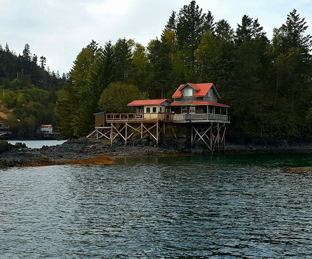 Halibut Cove house on pilings