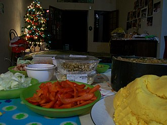 Hallaca - Fillings set out prior to hallaca making. Hallacas are one of the most common traditions during Venezuelan Christmas.