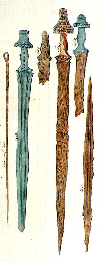 Iron Age sword - 19th century illustration of Hallstatt swords