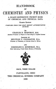 Title page of 8th edition of Handbook of Chemistry and Physics, published in 1920