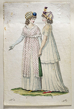 Toque - Fashion drawing from 1800 with ladies wearing toques.