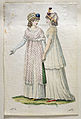 Handkolorerad modeplasch från mars 1800. Damerna bär toquer, påsliknande mössor utan brätten - Nordiska Museet - NMA.0032520.jpg