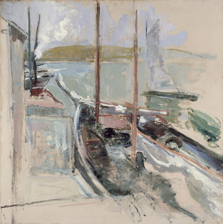 Scène portuaire par le peintre américain John Henry Twachtman (1900).