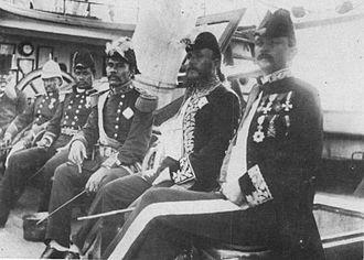 Malietoa Laupepa - Aboard Kaimiloa, right to left: Henry Poor, John Edward Bush, Malietoa Laupepa